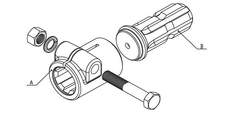 PTO Adaptor & splined shaft and CROSS for PTO drive shafes